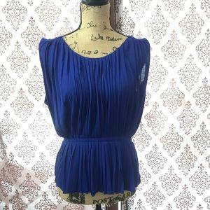 Tops - J crew cobalt blue pleated sleeveless blouse.